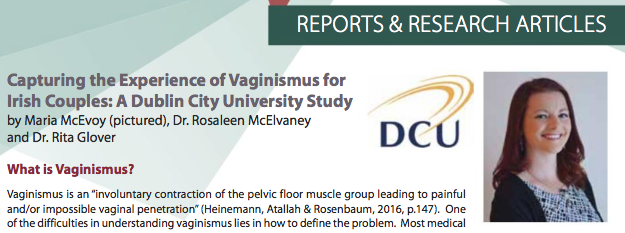 DCU Study of Vaginismus featured in an article HSE Sexual Health News
